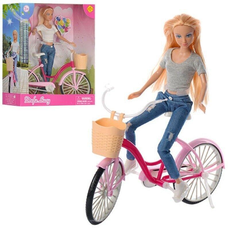 Кукла DEFA 8361 с розовым велосипедом (2 вида) (высота 28 см)