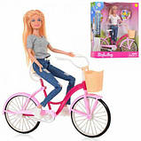 Кукла DEFA 8361 с розовым велосипедом (2 вида) (высота 28 см), фото 2