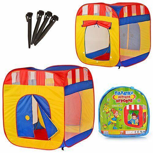 Палатка детская Куб М 0505 с занавеской, на змейке, 2 входа, 2 окна-сетка в сумке