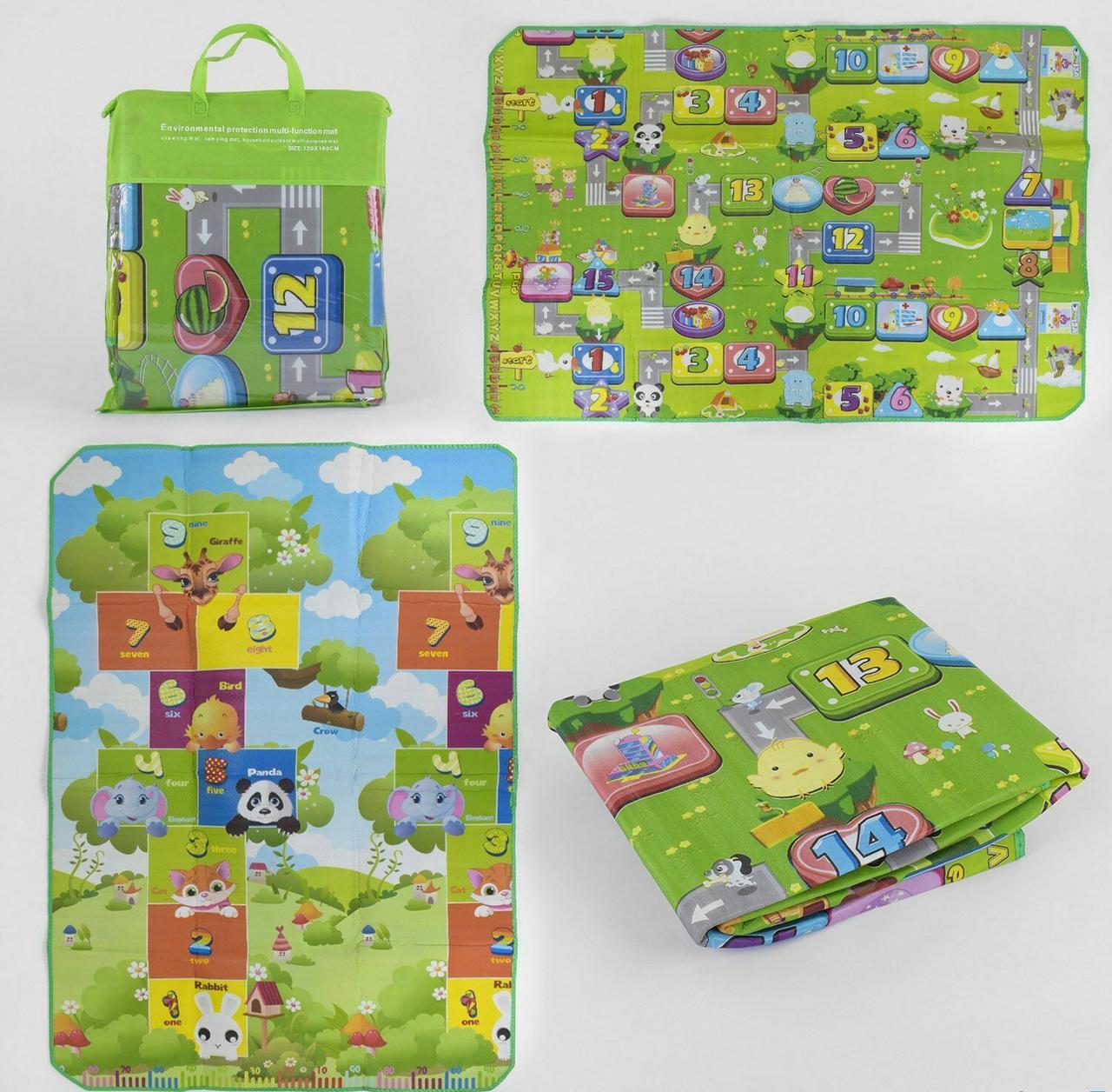Двухсторонний термоковрик для детей от 6-ти месяцев D- 00788 EVA упакован в сумку, размер 180х120 см