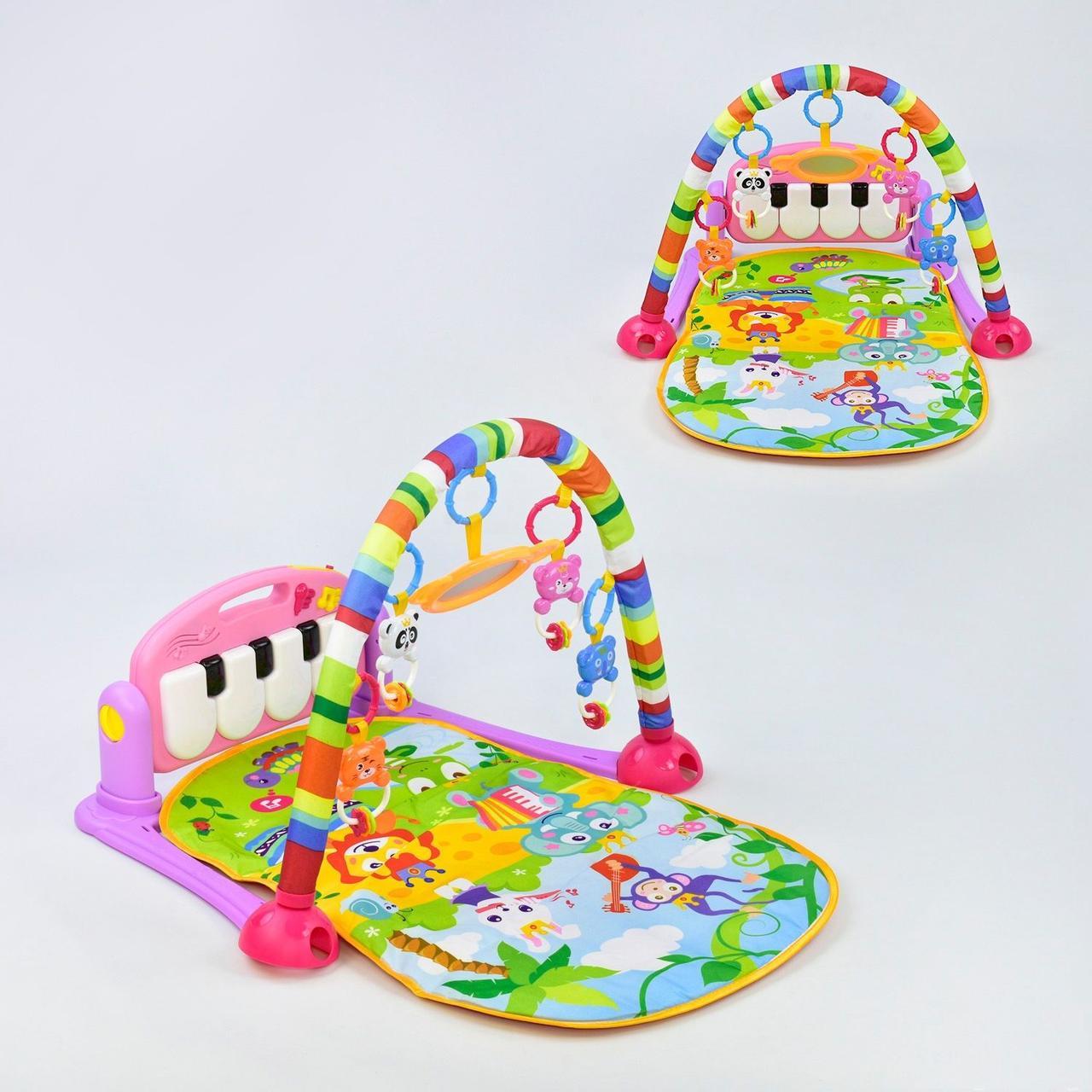 Яркий детский музыкальный коврик HE 0604 с пианино и подвесными игрушками розовый