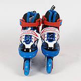 Раздвижные роликовые коньки (ролики) A 4123-S-BL со светящимися передними колесами, размер 31-34, синие, фото 2