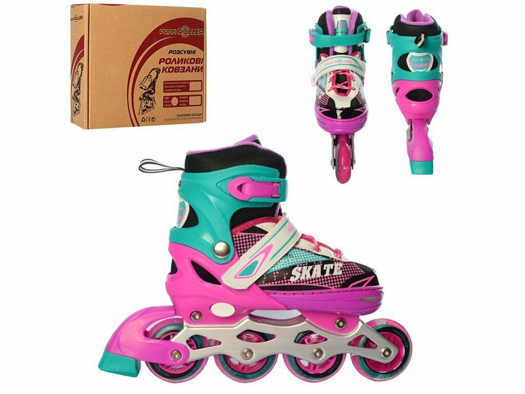 Роликовые коньки (ролики) детские раздвижные A 4123-M-PGR, размер 35-38, розовый-зеленый