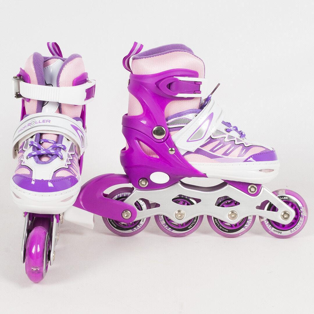 Раздвижные роликовые коньки (ролики) A 4122-M-V со светящимися передними колесами, размер 35-38, фиолетовые