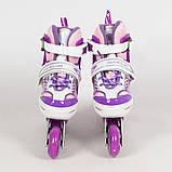 Раздвижные роликовые коньки (ролики) A 4122-M-V со светящимися передними колесами, размер 35-38, фиолетовые, фото 3