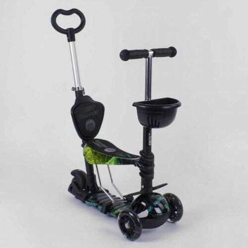 """Детский самокат - трансформер Best Scooter 10999 """"Абстракция"""" 5 в 1 с подножкой и подсветкой колес"""