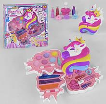 Дитяча косметика ТК 51483 в коробочці Единорожке з тінями, лаками, шпильками і помадами, для дівчинки
