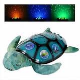 Детский мягкий ночник светильник Спящая черепаха YJ 3 с проектором звездного неба, работает от батареек, фото 4