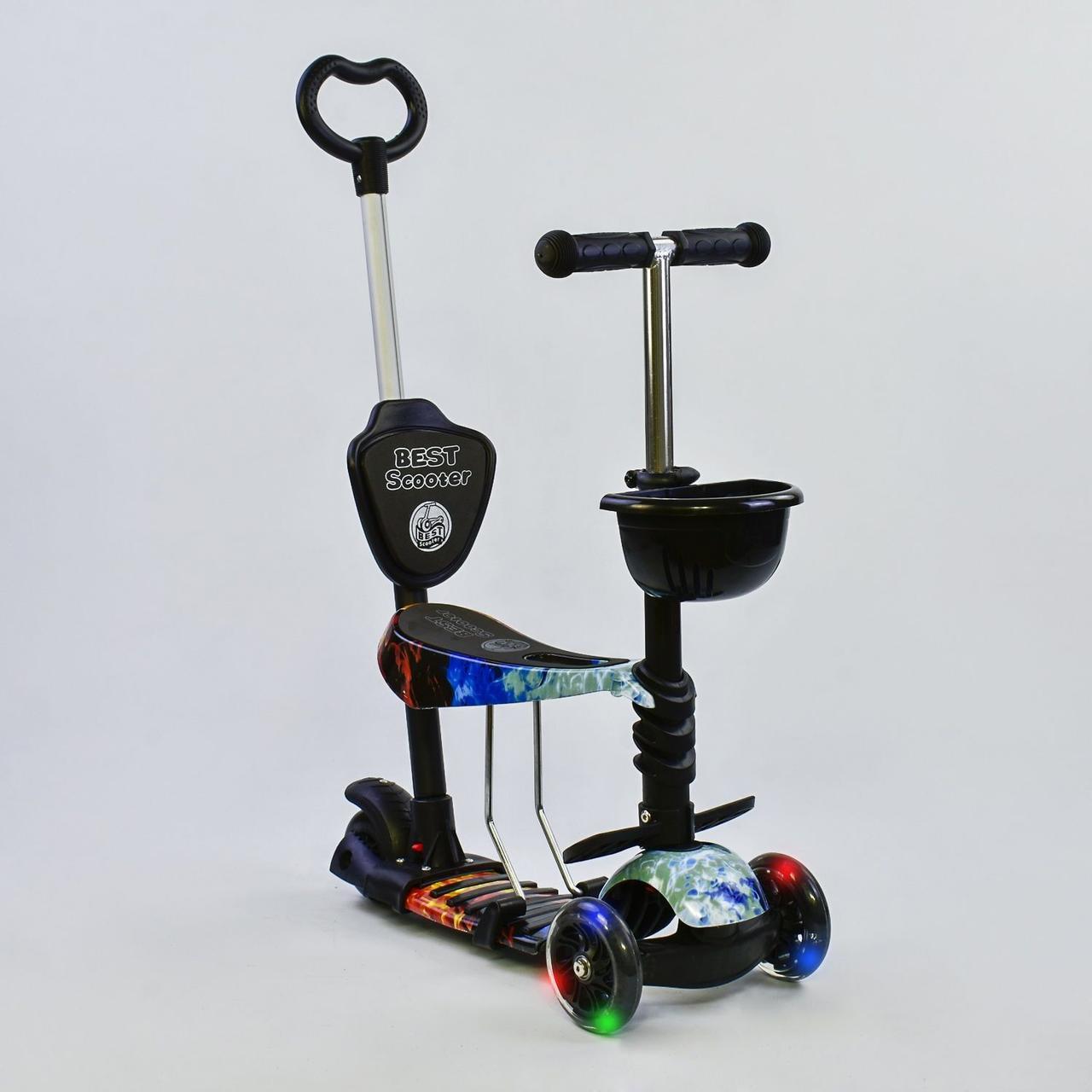 Самокат - беговел 5 в 1 Best Scooter 21500 з батьківською ручкою і світяться колесами