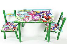 Набір дитячої дерев'яної меблів Столик + 2 стільчика Смішарики