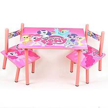 Меблі Дитячий столик M 1522 Рожевий поні зі стільчиками