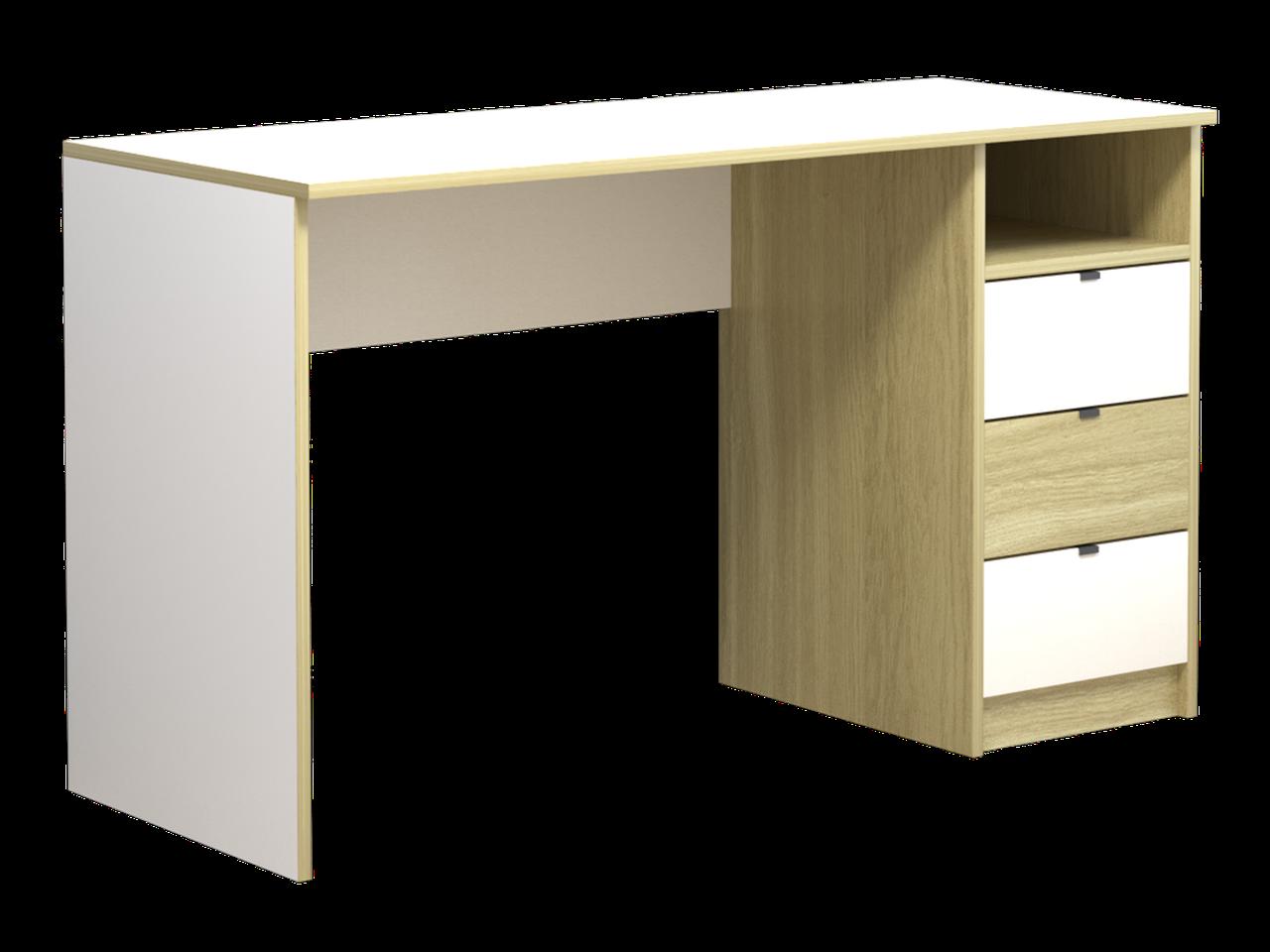Комп'ютерний стіл Інтарсіо Sigma 1390х790 мм Біла перлина гладка + дуб скельний (SIGMA_R)