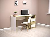 Комп'ютерний стіл Інтарсіо Sigma 1390х790 мм Біла перлина гладка + дуб скельний (SIGMA_R), фото 2