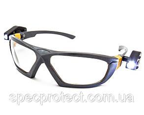 Очки защитные с 2-мя фонариками (линза ПК)