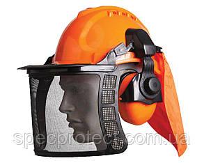 Щиток сітка VITA з навушниками 31 dB і каскою для газонокосильщика і лісоруба