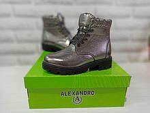 Модні черевики демі для дівчинки натуральна шкіра сріблясті Alexandro