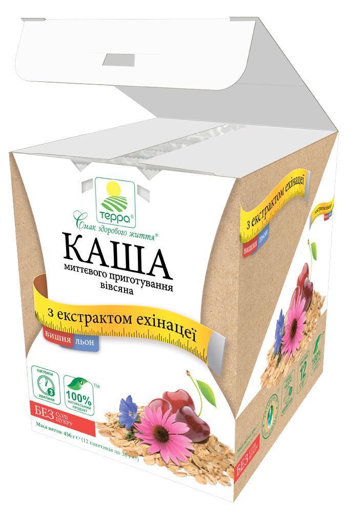 """Каша  Вівсяна з екстрактом ехінацеї, вишні та льону 12 пакетів по 38г швидкого приготування """"Терра"""" 456г"""