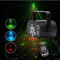 Компактная USB лазерная светомузыка прожектор для развлечений, дискотек, вечеринок