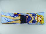Подушка обнимашка Дакимакура 150 х 50 Фате для обнимания аниме со съёмной наволочкой односторонняя, фото 2
