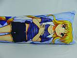 Подушка обнимашка Дакимакура 150 х 50 Фате для обнимания аниме со съёмной наволочкой односторонняя, фото 4