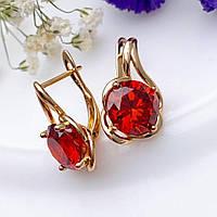 Серьги Xuping 1.9см медицинское золото позолота 18К красный цирконий с1206