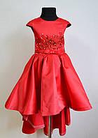 Нарядное детское платье со шлейфом на девочку 6-7 лет 122размер, красное