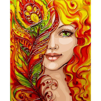 Картина по номерам 40*50 см. Идейка (без коробки) Огненная девушка (КНО 4599)