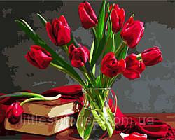 Картина по номерам 40*50 см Букет тюльпанов