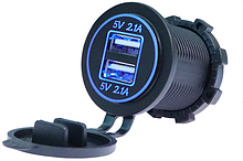 Автомобильное зарядное устройство с двумя USB-портами Blue