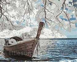 Картина по номерам 40*50 см  Лодка на берегу
