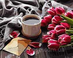 Картина по номерам 40*50 см Тюльпаны к кофе