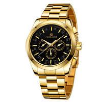 Механические мужские наручные часы Forsining Chronte Золотые с черным с гарантией