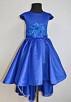 Нарядное детское платье со шлейфом на девочку 6-7 лет 122размер, єлектрик, праздничное