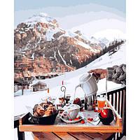 Картина по номерам 40*50 см Завтрак у швейцарских гор