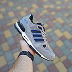 Мужские кроссовки Adidas ZX 750 (серые с синим) 10368 замшевые демисезонные повседневные спортивные кроссы, фото 6