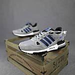 Мужские кроссовки Adidas ZX 750 (серые с синим) 10368 замшевые демисезонные повседневные спортивные кроссы, фото 2