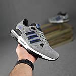 Мужские кроссовки Adidas ZX 750 (серые с синим) 10368 замшевые демисезонные повседневные спортивные кроссы, фото 3