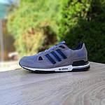 Мужские кроссовки Adidas ZX 750 (серые с синим) 10368 замшевые демисезонные повседневные спортивные кроссы, фото 7