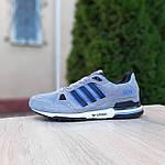 Мужские кроссовки Adidas ZX 750 (серые с синим) 10368 замшевые демисезонные повседневные спортивные кроссы, фото 10