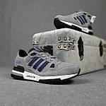 Мужские кроссовки Adidas ZX 750 (серые с синим) 10368 замшевые демисезонные повседневные спортивные кроссы, фото 4