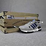 Мужские кроссовки Adidas ZX 750 (серые с синим) 10368 замшевые демисезонные повседневные спортивные кроссы, фото 9