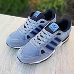 Мужские кроссовки Adidas ZX 750 (серые с синим) 10368 замшевые демисезонные повседневные спортивные кроссы, фото 8