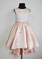 Нарядное детское платье со шлейфом на девочку 6-7 лет 122размер, пудра, праздничное