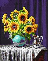 Картина по номерам 40*50 см Подсолнухи в вазе