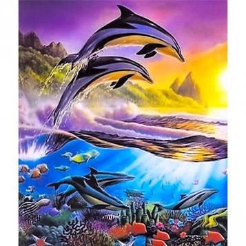 Картина за номерами 40х50 см DIY Зграя дельфінів на заході (FX 30371)