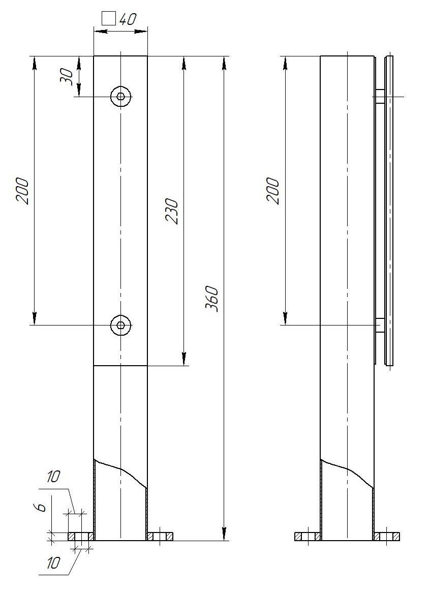 ODF-02-22-21-H360 Стойка для стеклянных ограждений и перил из нержавейки с прижимной пласт, черная