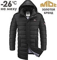 Зимняя куртка на меху МОС | 0030 черный - красный