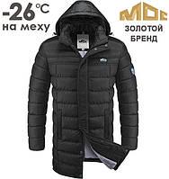 Мужская куртка на меху МОС | 0031 черный - электрик