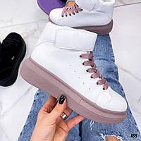 Білі високі кросівки на платформі хайтопы, фото 1