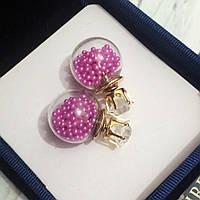 """Серьги """"Шанель"""" розовые с шариками внутри  (пуссеты), гвоздики."""